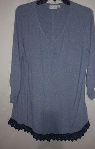 Kim Rogers Blue Gray Ribbed Tunic Top 1X Plus